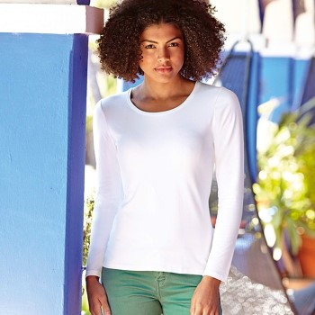 Image of Fruit of the Loom Lady-Fit Long Sleeve Crew Neck