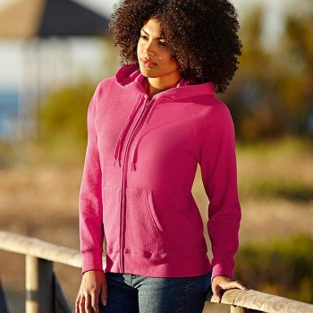 Image of   Fruit of the Loom Lady-Fit Hooded Sweat Jacket * Gratis Fragt *