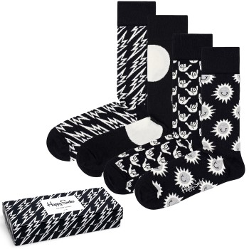 Happy socks 4 stuks Black and White Gift Box