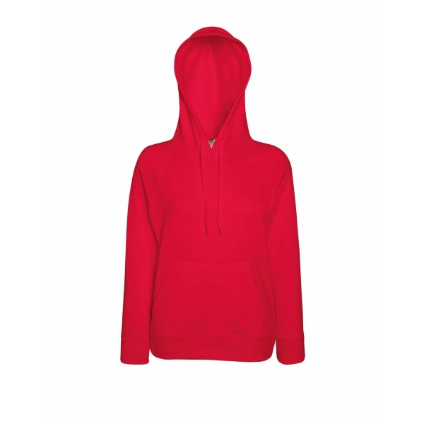 Fruit of the Loom Lady-Fit Light Hooded Sweat - Red